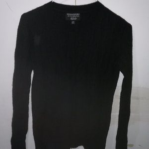 Black crew neck wool jumper XS